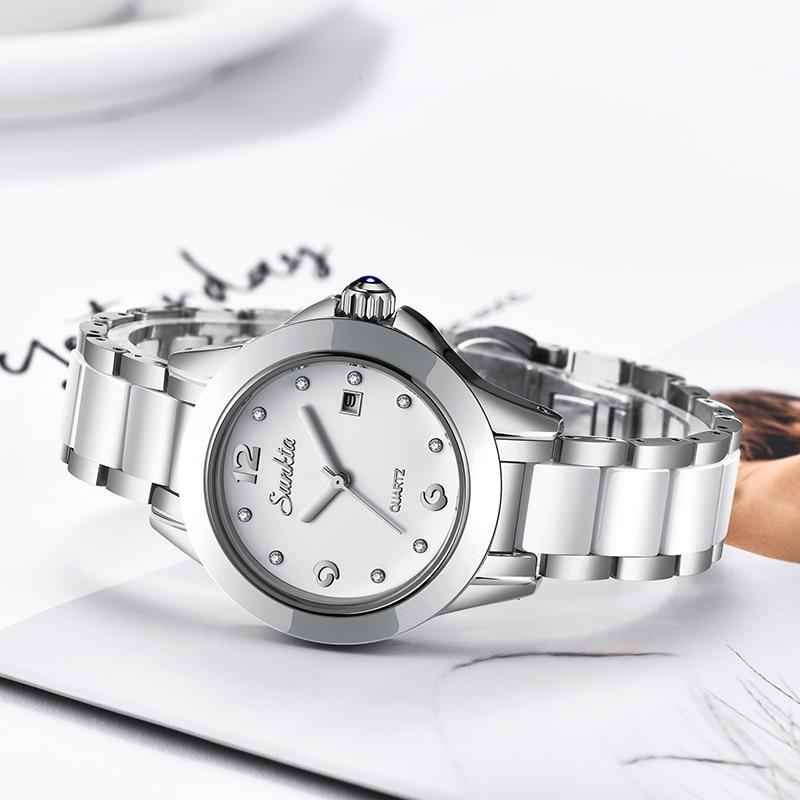 Relógio de Quartzo à Prova Água para Mulher + Caixa Nova Sunkta Moda Feminina Relógios Prata Senhoras Pulseira Relógio Reloj Mujer Criativo Dwaterproof 2019