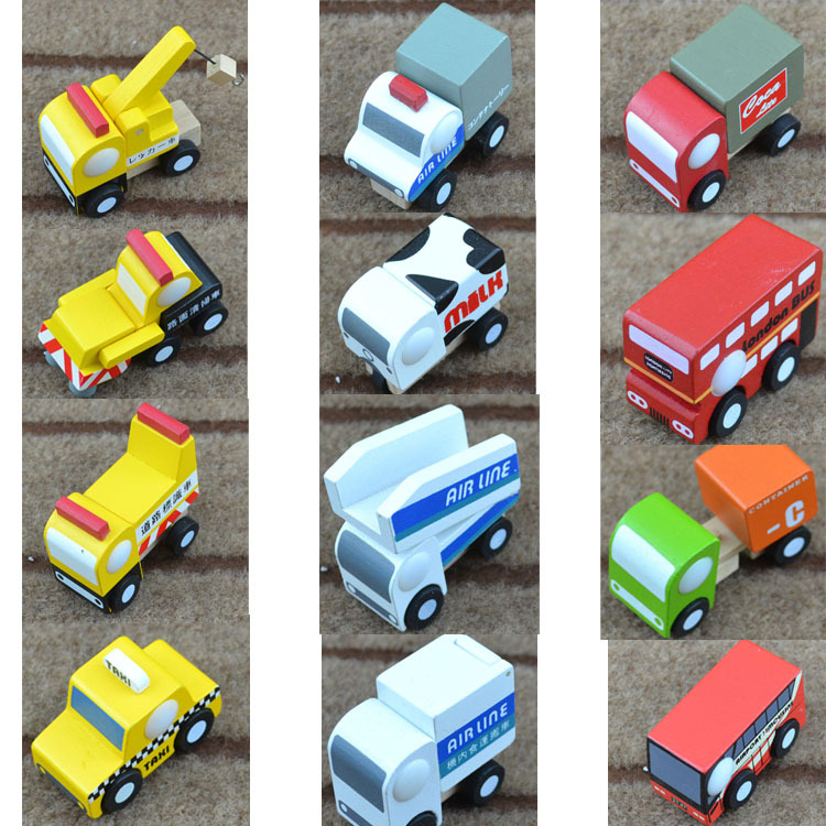 Express it in Small wooden mini cars set toys mini children car model puzzle wooden toys excavator fire engines milk car taxi