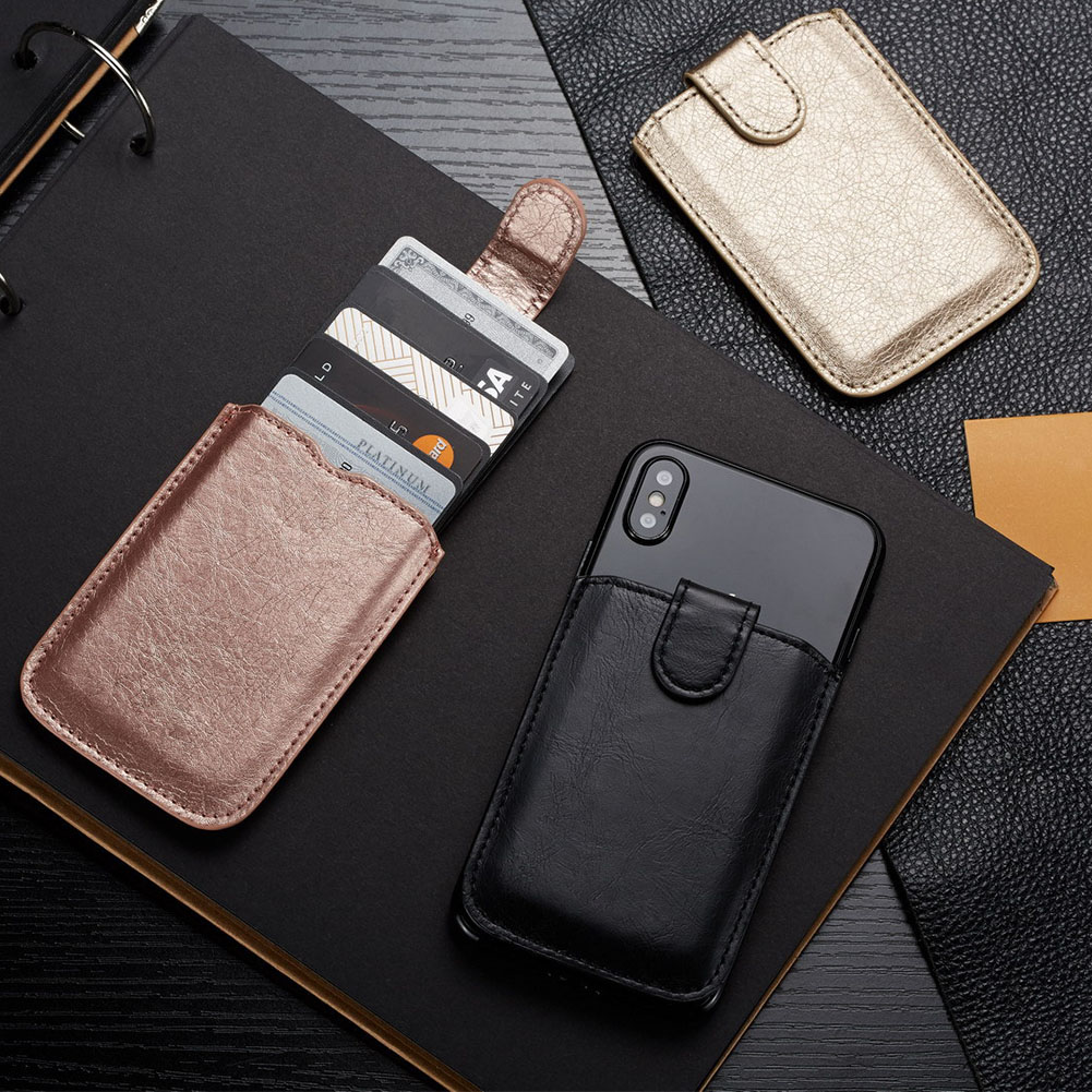 Unisex Pouch Portable Stick-on PU Leather Multifunctional Adhesive Wallet Storage Shopping Case Card Holder Phone Back Fashion