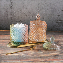 Roman Colored Crystal Storage Tanks Practical Clear Glass Jewelry Decoration Jars Creative Makeup Brushes Cotton Swab Candy Cans