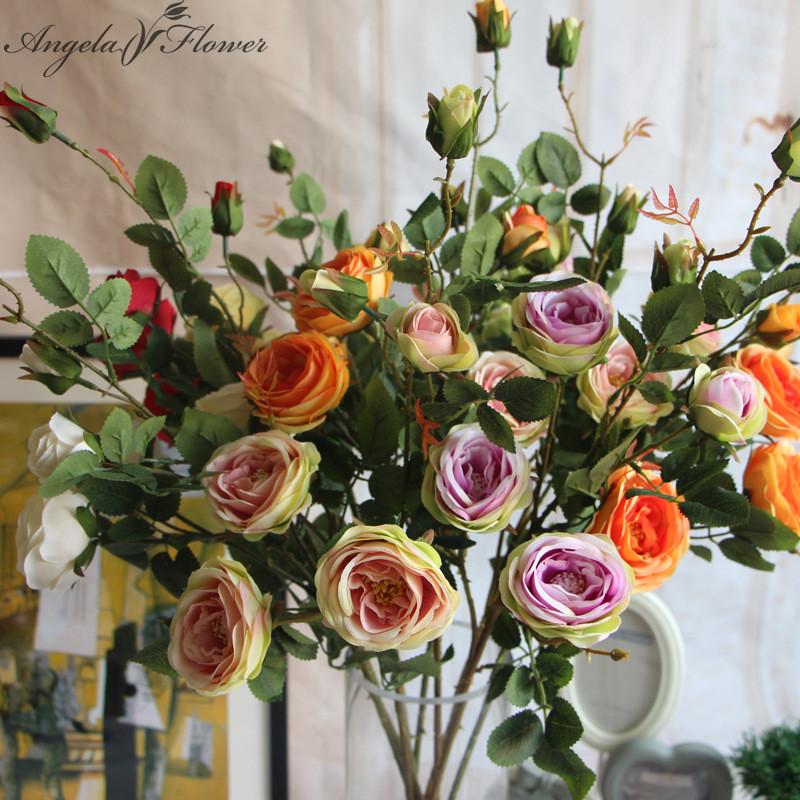 Wedding Bouquets Without Flowers: French Romantic Colorful Silk Flower Big Size Floor