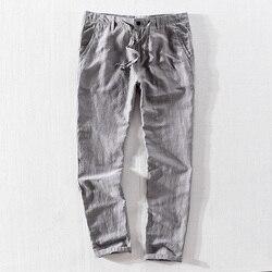 Новый бренд 2018, длинные штаны в итальянском стиле, мужские льняные серые брюки в полоску, мужские свободные брюки с эластичной резинкой на т...