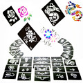 100pcs/lot  Temporary Glitter Tattoo Stencils-Tattoo Template For Flash Body Art Paint With 1000 Mixed Designs Free Shipping