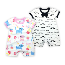 Brand New Style 2-pack Infant Toddlers Jumpsuit Summer Short Sleeve baby Boy girl  body suit Cotton Newborn Baby Romper 6M-24M