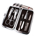 7pcs/Set Nail Clipper Kit, Nail Care Pedicure Scissor/Tweezer/Knife/Ear Pick,Utility Manicure Set Tools+Stone Pattern/grid Case
