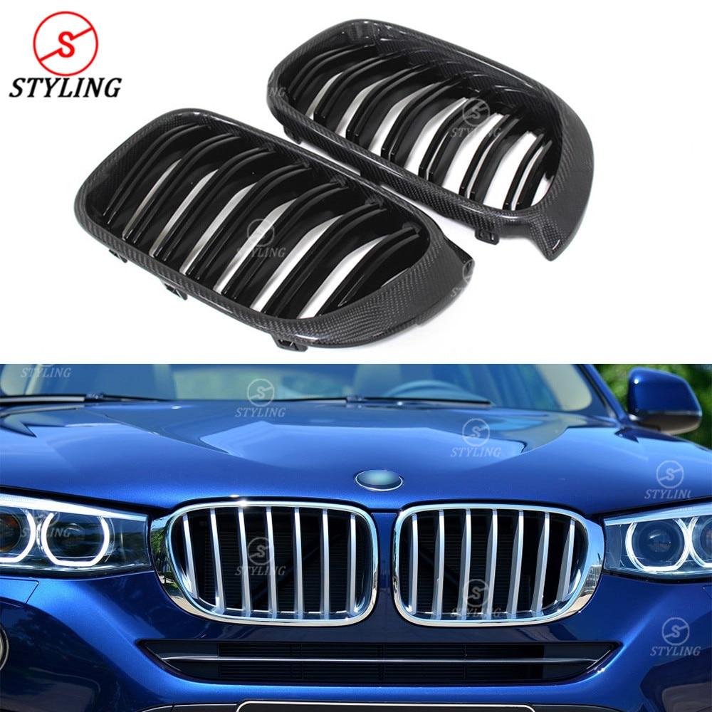 For BMW X series X4 F26 & X3 F25 Carbon Fiber & Plastic front bumper front grille dual slat gloss black finish & 3 color 2014-UP x3 f25 x4 f26 front bumper grills for bmw x3 x4 f25 f26 2014 present model kidney grille mesh