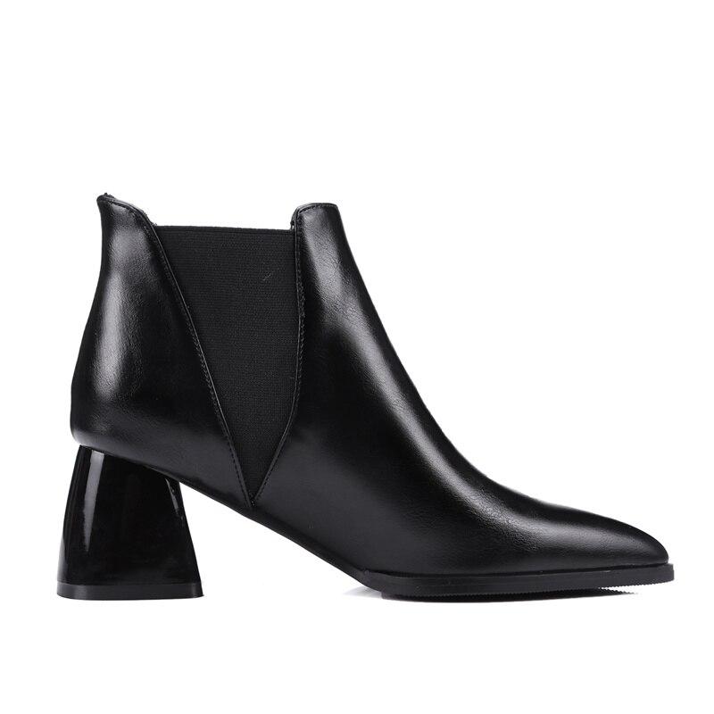 Grande gris Negro 6 Mujer Tobillo Invierno Vestido 43 Altos Talla rojo Zapatos Toe Mujeres Chelsea 2019 Gruesos Tacones Cm On Botas Slip Pointed 51fgqzw
