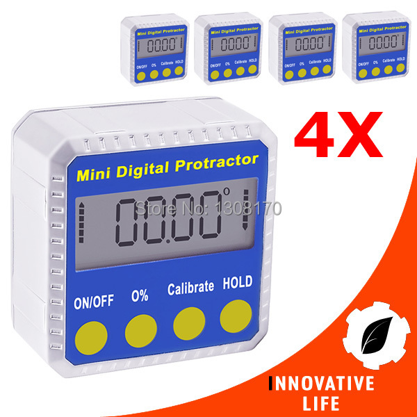 4 pieces x Digital Angle Finder Protractor Inclinometer Gauge Meter 4 x 90degree  with Magnetic Base Bevel Box digital protractor inclinometer angle meter digital bevel box 4 x 90 degree range magnetic base