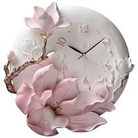 Modern Minimalist Luxury Embossed Home Peony Wall Clock Ornament Livingroom Silent Clock Mural Craft Wall Decoration Art