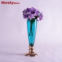 cyan blue Glass vase decoration home decor candy pots golden base for flower tabletop vase modern terrarium glass candle pots