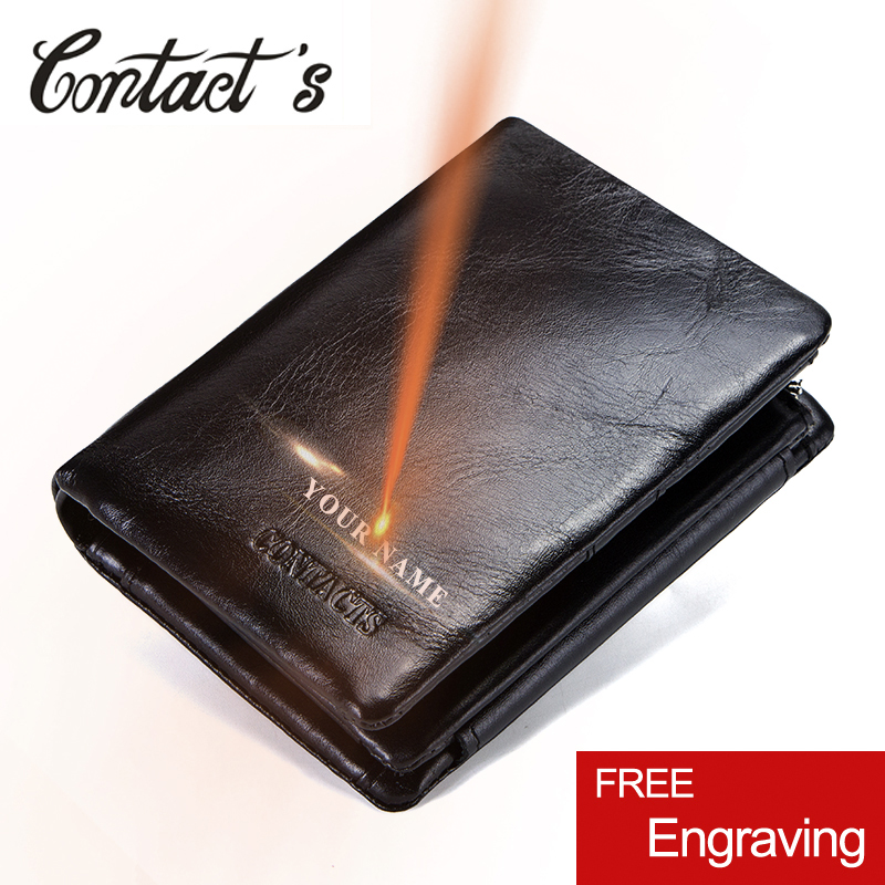 Contact's 100% Genuine Leather Men Wallet Zipper&Hasp Men Walet Short Male Clutch Multi-Functional Cowhide Coin Purse For Men