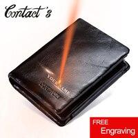 Contact's 100% Genuine Leather Men Wallet Zipper&Hasp Men Walet Short Male Clutch Multi Functional Cowhide Coin Purse For Men