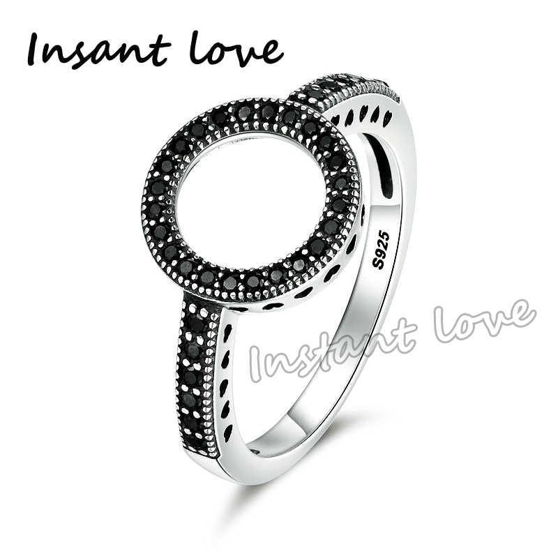 INSTANT LOVE 100% เงินแท้ Forever โปร่งใสสีดำ CZ รอบแหวนสำหรับของขวัญเครื่องประดับสตรี