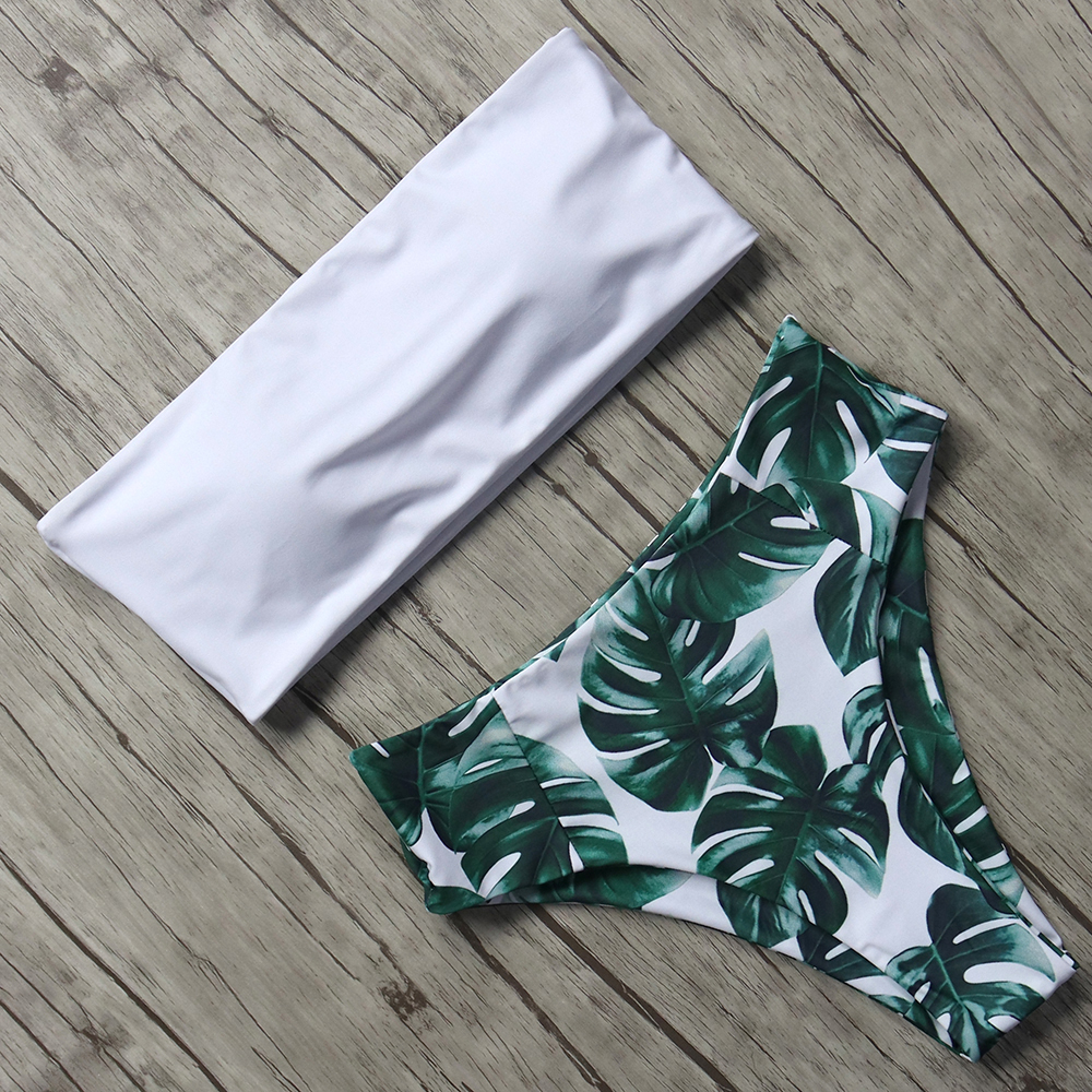 Buy Print Swimwear Women Swimsuit High Waist Brazilian Bikini 2019 Sexy Shoulder Bikinis Set Bathingsuit Beachwear