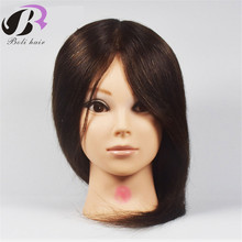 Brown Mannequin Professional Hairdressing Training Heads 100 Human Hair Best Quality Female Head With Desk Holder