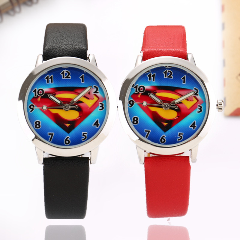 2019 Superman Cartoon Watch Children Kids Wristwatch Boys Girls Clock Child Gift Leather Wrist Watch Quartz Watch Student Gift