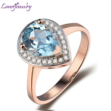 LOVERJEWELRY Lady Topaz Rings  Jewelry Vintage Pear 7x9mm 14Kt Rose Gold Natural Diamond Topaz Party Wedding Rings For Women