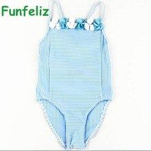 Girls Swimwear 2016 cute baby girl bathing suit children one piece girl swimsuit blue striped swim costume for girls kids 6M-11T цена