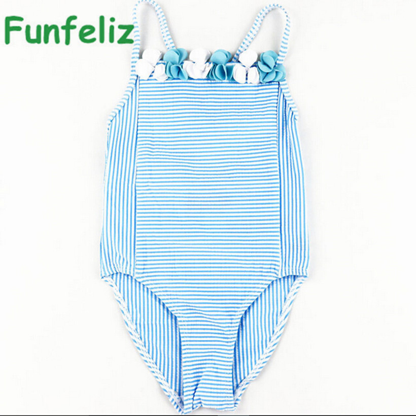 Girls Swimwear 2016 cute baby girl bathing suit children one piece girl swimsuit blue striped swim costume for girls kids 6M-11T one piece swimsuit children s swimwear girl children baby swim wear kids cute swimsuits 2017 new buoyancy life biquini infantil