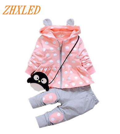 2017 Spring Autumn new children's clothing girl suit casual cotton hooded jacket + pants 2pcs baby newborn clothing baby set 2017 new cartoon pants brand baby cotton embroider pants baby trousers kid wear baby fashion models spring and autumn 0 4 years