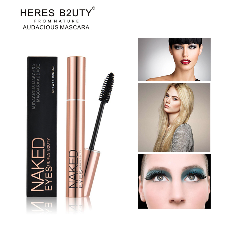 NEW HOT-SELL ապրանքանիշ HERES B2UTY 3D Fiber Fiber Long Long Lash Waterproof Mascara Longeninging Thick Cosmetics Black 3D Mascara High Quality