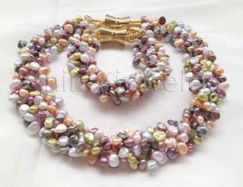 18 8 5row 8mm multicolor Reborn Keshi freshwater pearl necklace bracelet Noble style Natural Fine