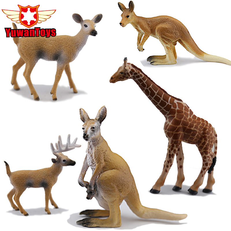 Simulation Animal Model Giraffe Kangaroo Elk Reindeer Figure Lifelike Herbivore Animal PVC Collectible Toys Christmas Gifts Kids