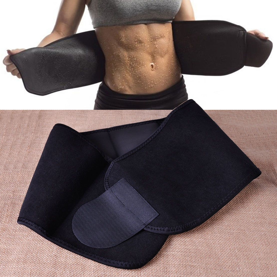Black waist tummy trimmer slimming weight loss belt