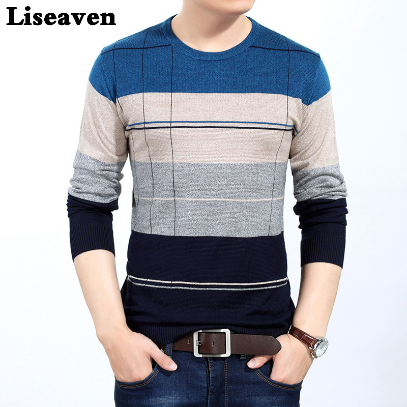 Liseaven Men Striped Sweater Long Sleeve Pullover Sweaters Men's Clothing Pullovers Tops