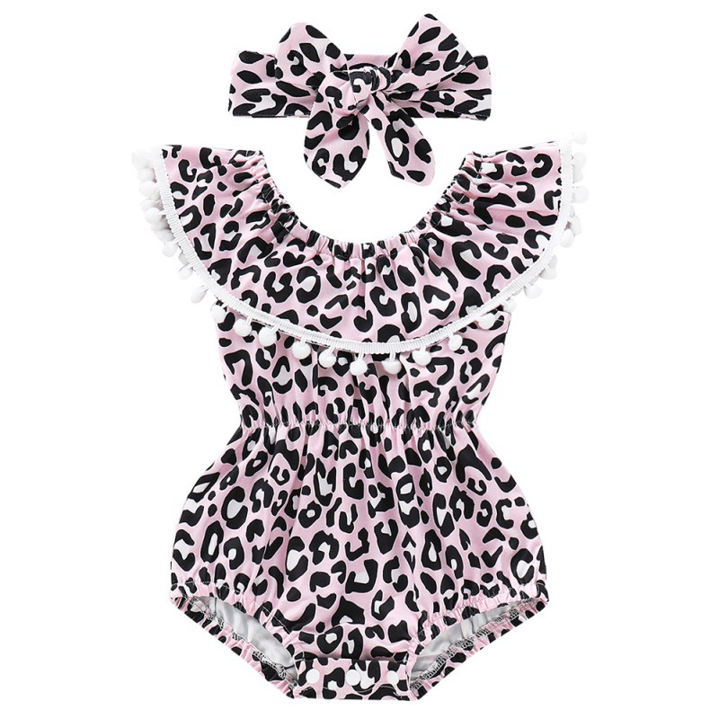 Newborn Girls   Rompers   Set Flare Sleeve Leopard Print Tassel Jumpsuit With Headband Fancy Pretty Toddler Girl Princess   Romper