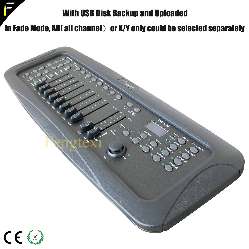 RHINO U240B Console Professional Controller Club Stage Light Dimming Beam Show Console Device DMX512 via Joystick USB Backup