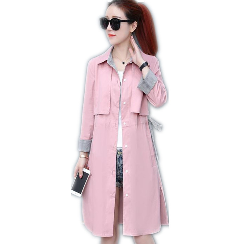 2018 New Fashion Style Women Medium-Long   Trench   Female Spring Autumm Long Sleeve Single Breasted Office Lady   Trench   Slim Q246
