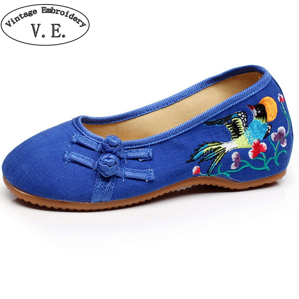 Chinese Women Shoes Flats Slip On Cotton Birds Embroidery Comfortable Old Peking Ballerina Ballet Shoes Woman Sapato Feminino plus size 42 vintage embroidered women shoes flats old peking flower embroidered canvas linen shoes sapato feminino ballet shoes