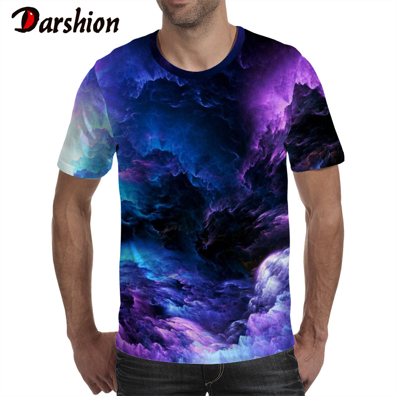 Darshion Summer 3D Print Men Tshirt Casual Short Sleeve O-Neck Mens Tshirt Fashion Cloud Printed 3D T Shirt Tops Tees Large Size
