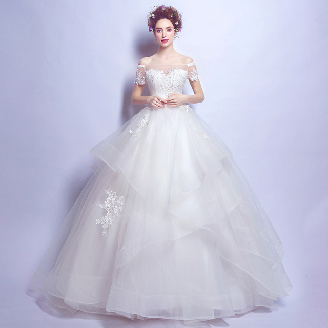 Angel Wedding Dress Marriage Bride Bridal Gown Vestido De Noiva 2017 Boat Neck Nail Lace