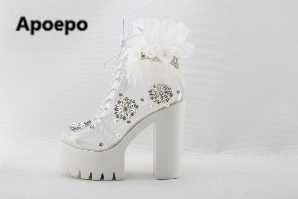 sales brand Handmade lace flower platform lace-up boots transparent PVC ankle boots crystal pearl bead thick heels boots ladies handmade crystal pearl beading ankle boots for 2018 woman sweet lace flower platform high chunky heels pumps wedding dress shoes