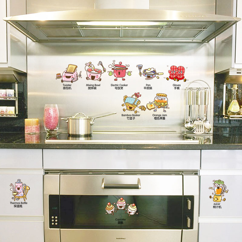 [Fundecor] cartoon cooker wall stickers home decor living room kids rooms kitchen refrigerator sticker diy self adhesive film