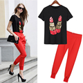 2 pieces/set  female  summer  fashion women sequins  leisure  suits   tee +pants  Women's Sets  luonasi
