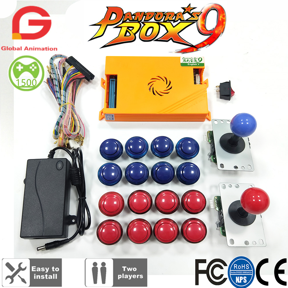 Original Pandora Box 9 1500 Games Set DIY Arcade Kit Push Buuttons Joysticks Arcade Machine Bundle Home Cabinet with manual