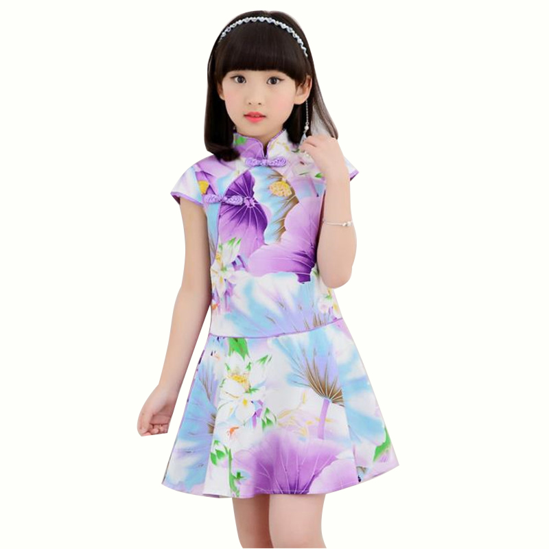 Floral Lotus Printed Baby Qipao Girl Summer Dresses Kid Chinese Style Chi-pao Girls Floral Lotus Printed Cheongsam Girl Gift