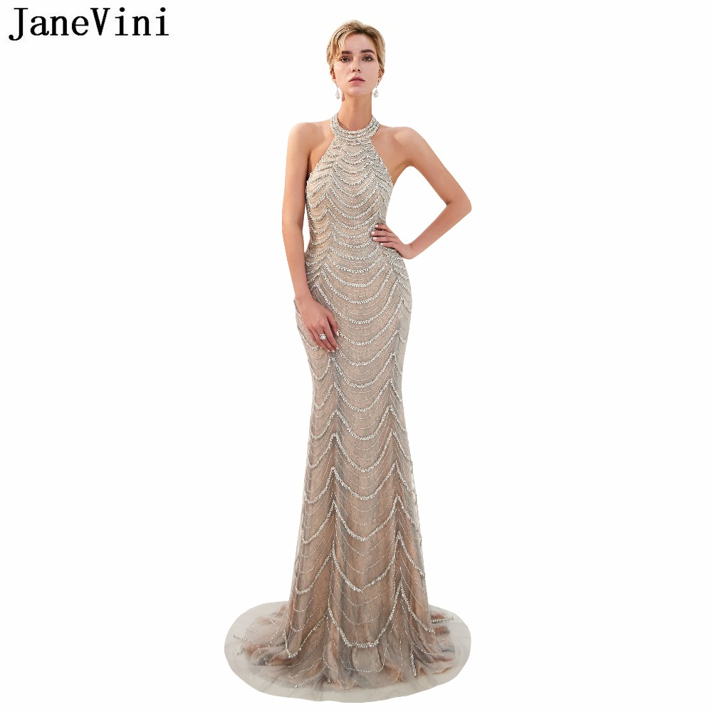 JaneVini Luxurious Beaded Sequined Lace Mermaid   Bridesmaid     Dresses   Halter Floor Length Backless Sexy Tulle Long Prom Party Gowns