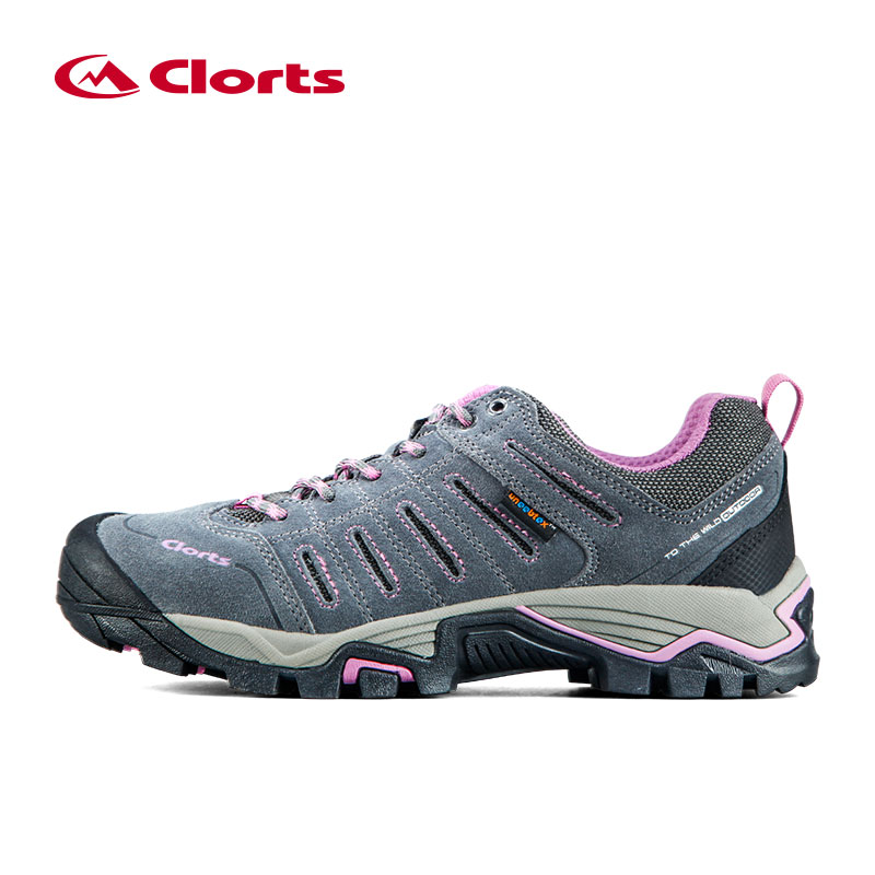 ФОТО CLORTS Women's Waterproof Trekking Shoes Slip Resistant Outdoor Hiking Shoes Sports Shoes Suede Leather Athletic Shoes