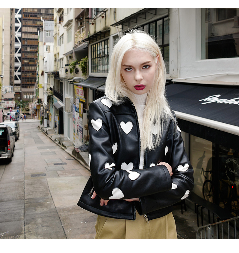 2018 Autumn New Fashion Zipper Female Casual Jackets Tops Contrast Color Love Women Faux   Leather   PU Jackets Coats