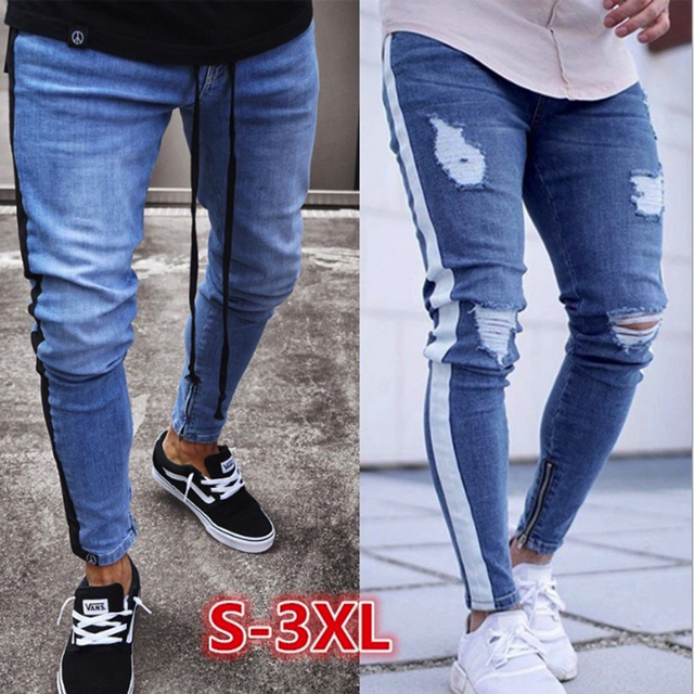 55b30227ad45 Men denim ripped hole Jeans side striped line Jeans Fashion Hip hop Skinny  pencil Jeans For Men stretch ankle zipper black jeans