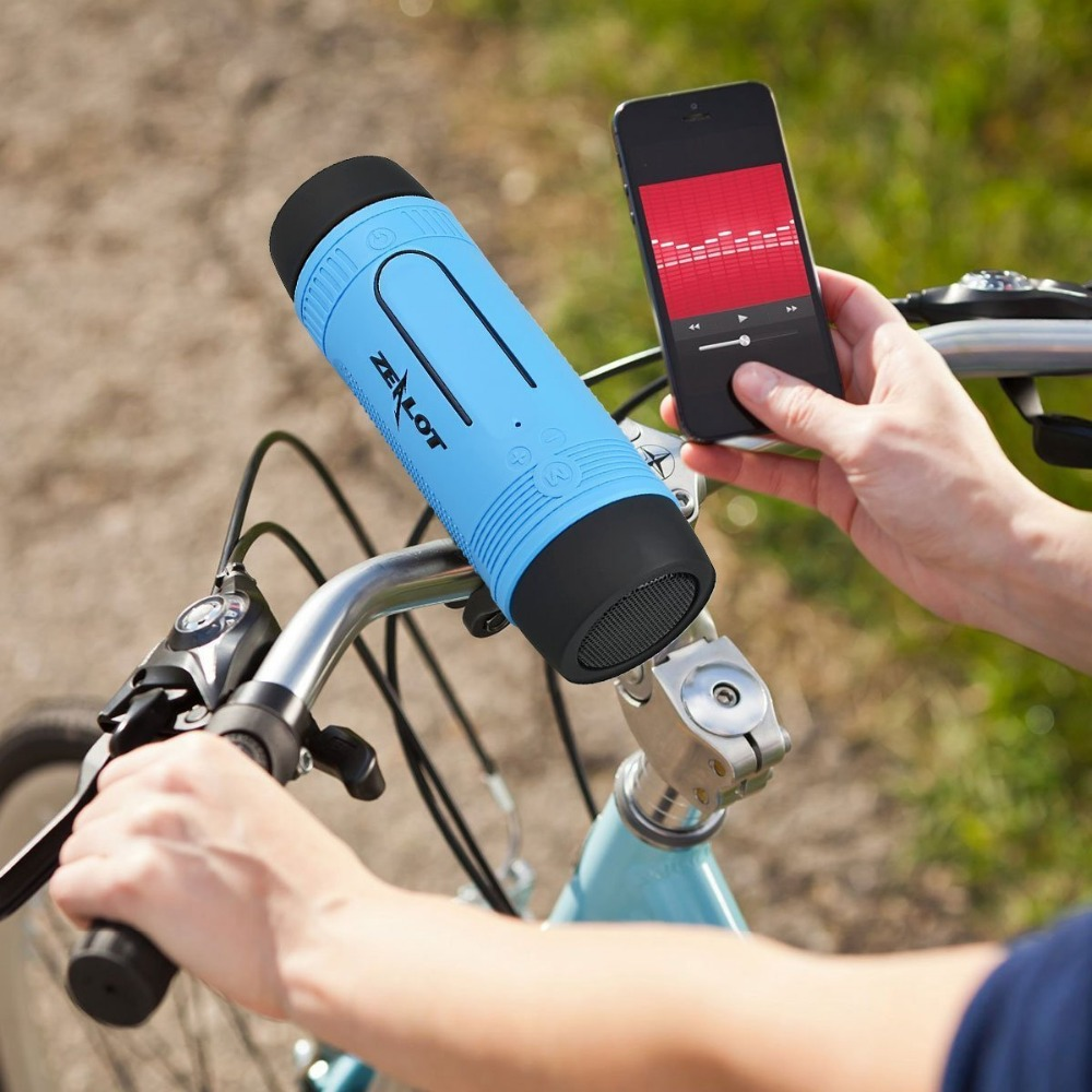 Zealot Bluetooth Speaker Portátil Coluna Bicicleta Banco de Potência Ao Ar Livre Pequenos Alto-falantes Sem Fio Rádio fm + Lanterna + Bicicleta De Montagem