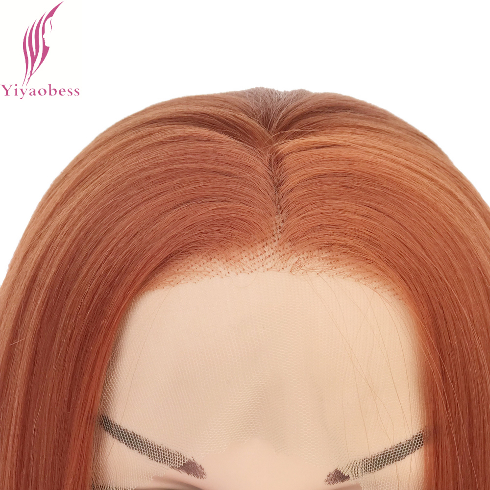 Yiyaobess Straight Syntetisk Snörning Fram Paryk Lång Orange Hår - Syntetiskt hår - Foto 5