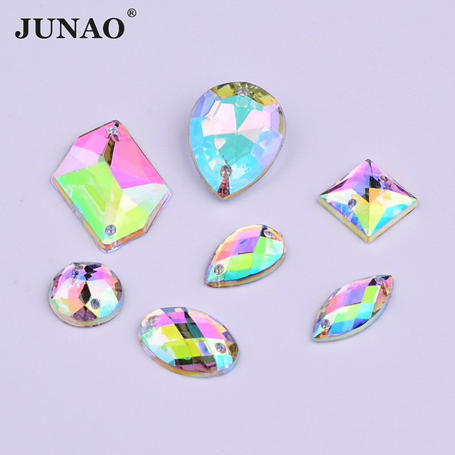 JUNAO Mix Size Shape Sew On Crystal AB Rhinestones Flat Back Strass  Applique Sewing Acrylic Crystal Stones for Dress Needlework 99dc6de7302c