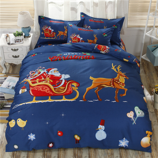 3d Christmas Bedding Sets Blue Xma Duvet Covers For Twin Queen King