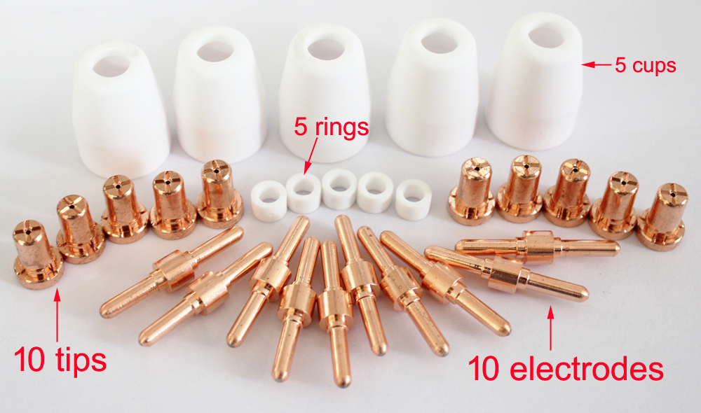 CUT45, CUT50 torch parts PT-31 cutting torch consumable 10 electrodes 10 tips 5 swirl ring 5 cups very handy tips extended spare parts cutting torch many people like 7m