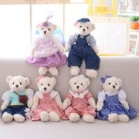 1 Pair 40 CM Pastoral Çiçek Kovboy Çift Teddy Bear Peluş Dolum Oyuncaklar, çift Oyuncak Ayı Bebek, sevgililer Günü Düğün Hediyeleri